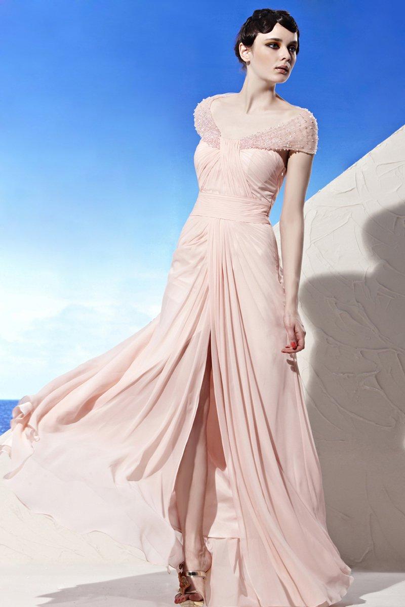 V Neck Wrap Shoulder Beading Sleeveless Backless Floor Length Tencel Woman Evening Dresses
