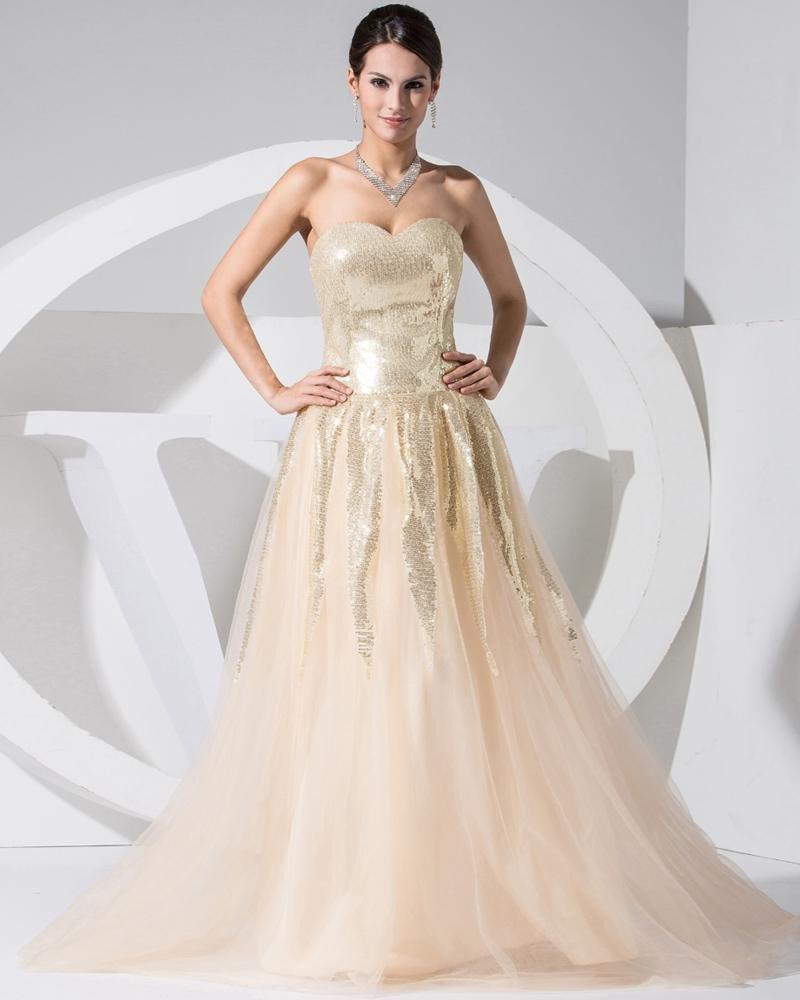 Strapless Zipper Sleeveless Paillette Floor Length Lace Silk Satin Woman Celebrity Dress
