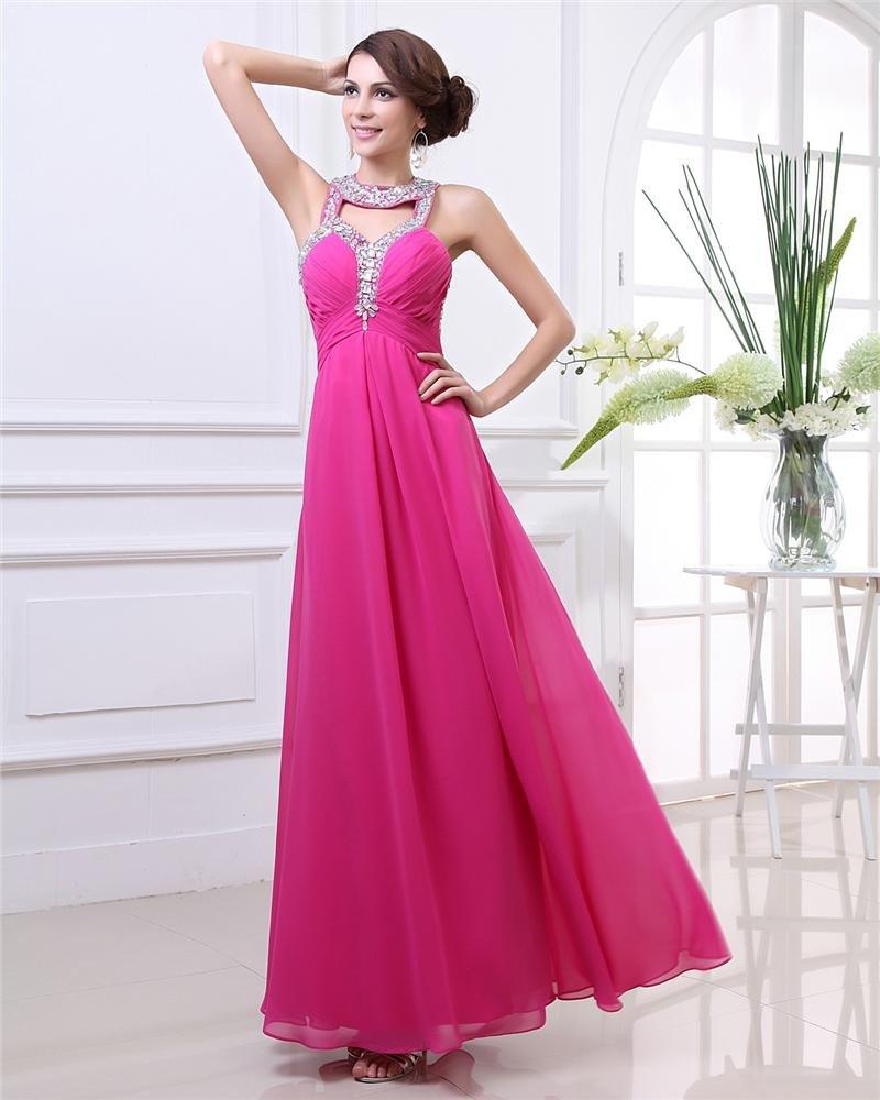 Beautiful Halter Ankle Length Beading Pleated Chiffon Women Evening Dress