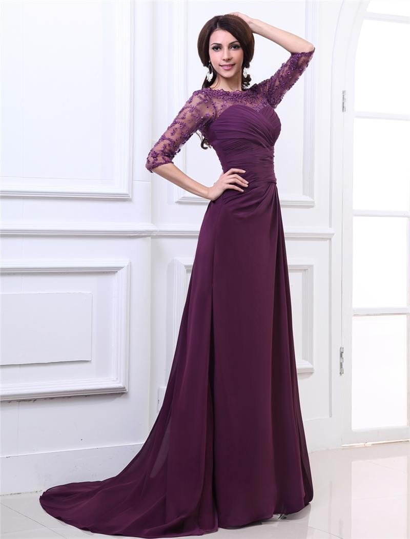 Chiffon Sweetheart Pleated Floor Length Evening Dresses