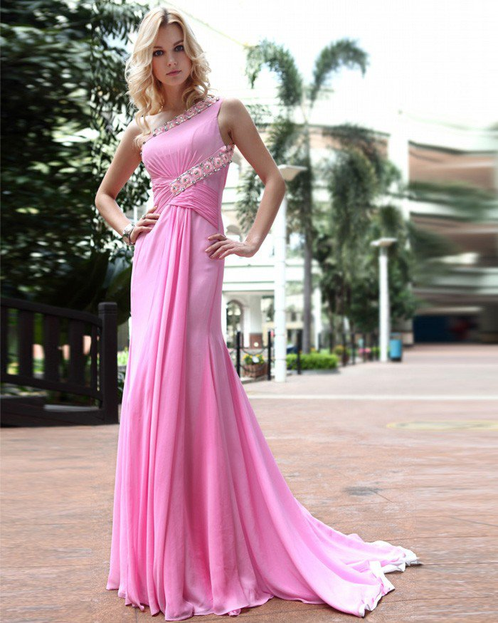 Silk One Shoulder Drape Applique Rhinestone Floor Length Evening Dress