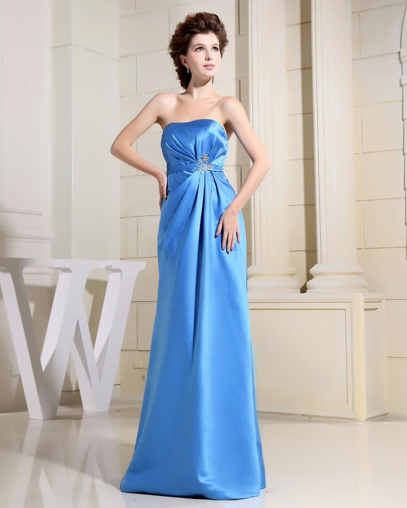 Empire Strapless Waist Belt Beading Ruffle Floor Length Charmeuse Silk Woman Evening Dresses