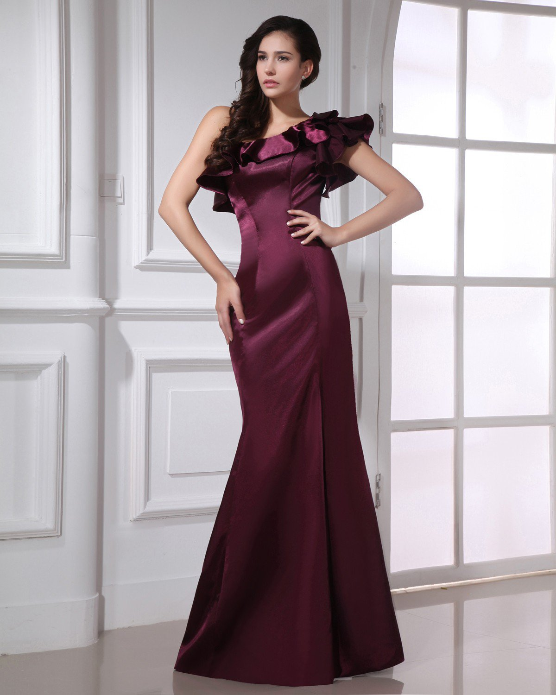 Fashion Charmeuse Ruffle Sloping Floor Length Evening Dress