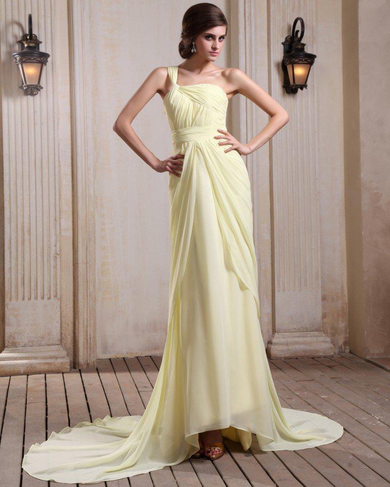 Sleeveless Chiffon Ruffles One Shoulder Chapel Train Evening Gowns
