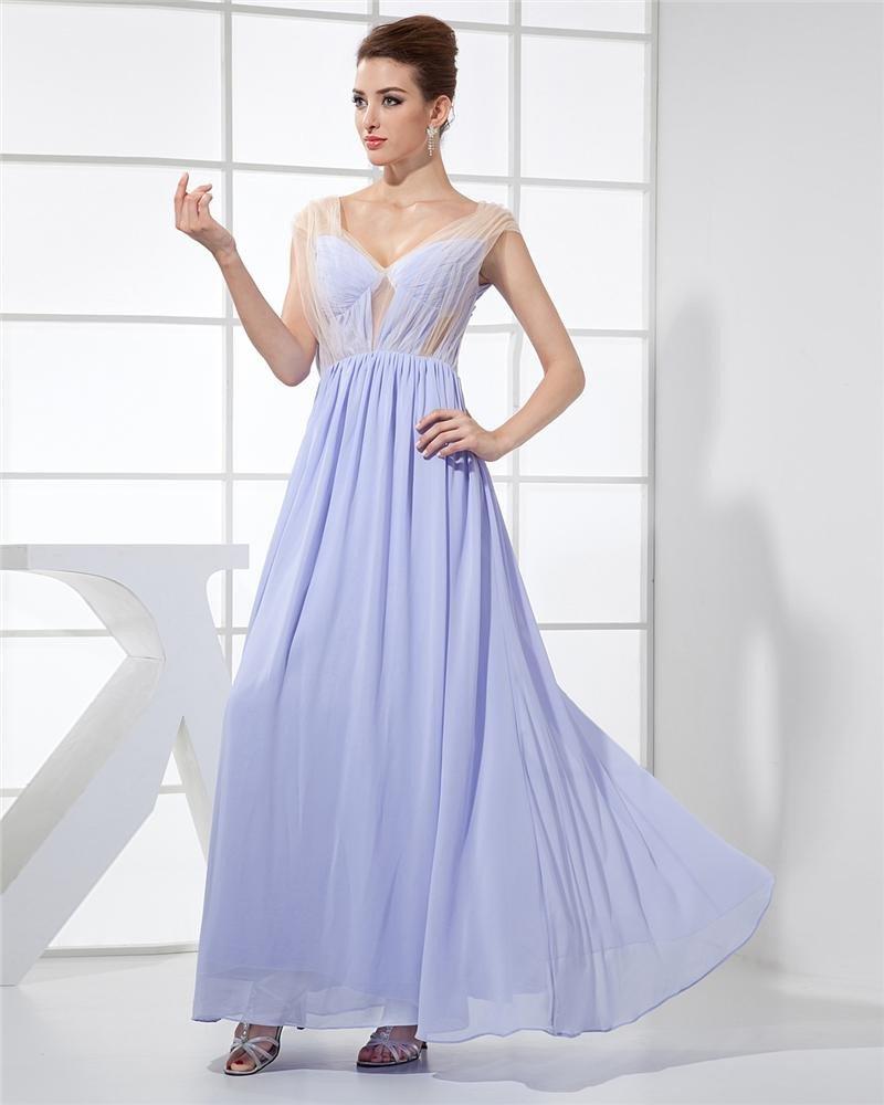 Fashion Chiffon Charmeuse Silk Gauze V Neck Floor Length Sleeveless Women Evening Dress