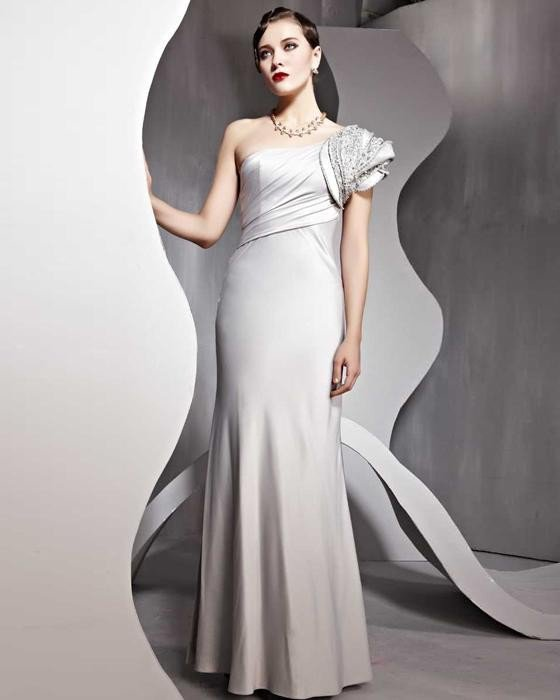 Sexy Imitated Silk One Shoulder Ankle Length Evening Dresses