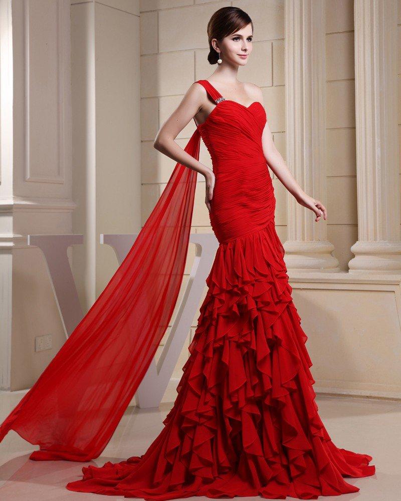 Fashion Chiffon Charmeuse Silk Pleated Ruffle Beaded One Shoulder Court Train Sleeveless Women Eveni