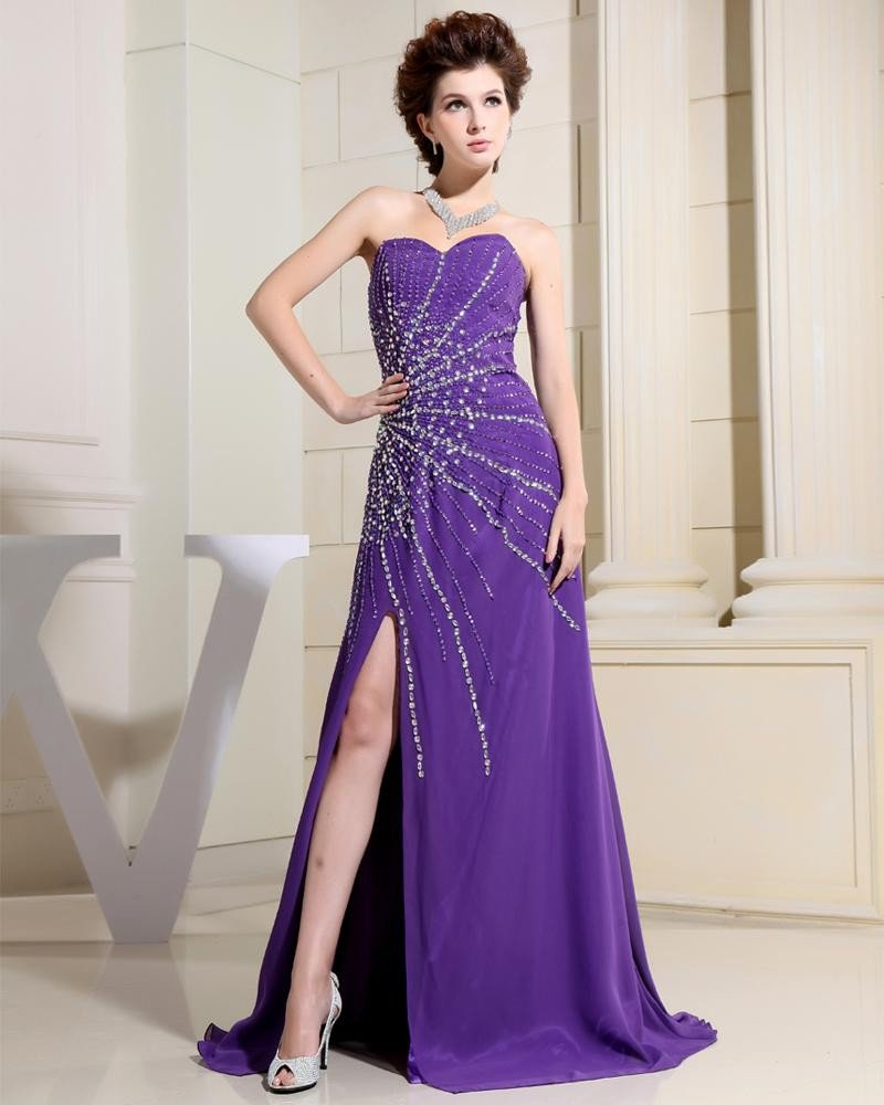 Sweetheart Sleeveless Zipper Beading Floor Length Chiffon Elastic Silk Like Satin Silk Woman Evening