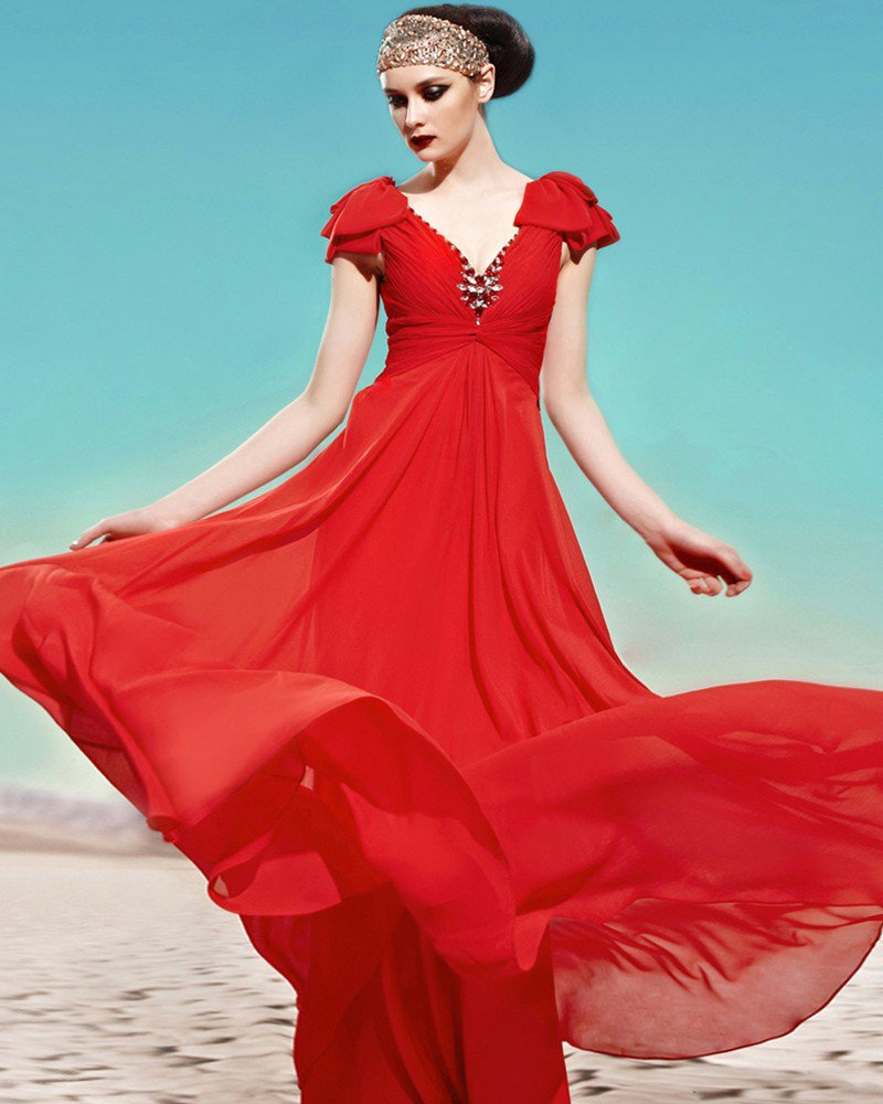 V Neck Beading Ruffle Petal Sleeve Zipper Empire Floor Length Charmeuse Woman Evening Dress