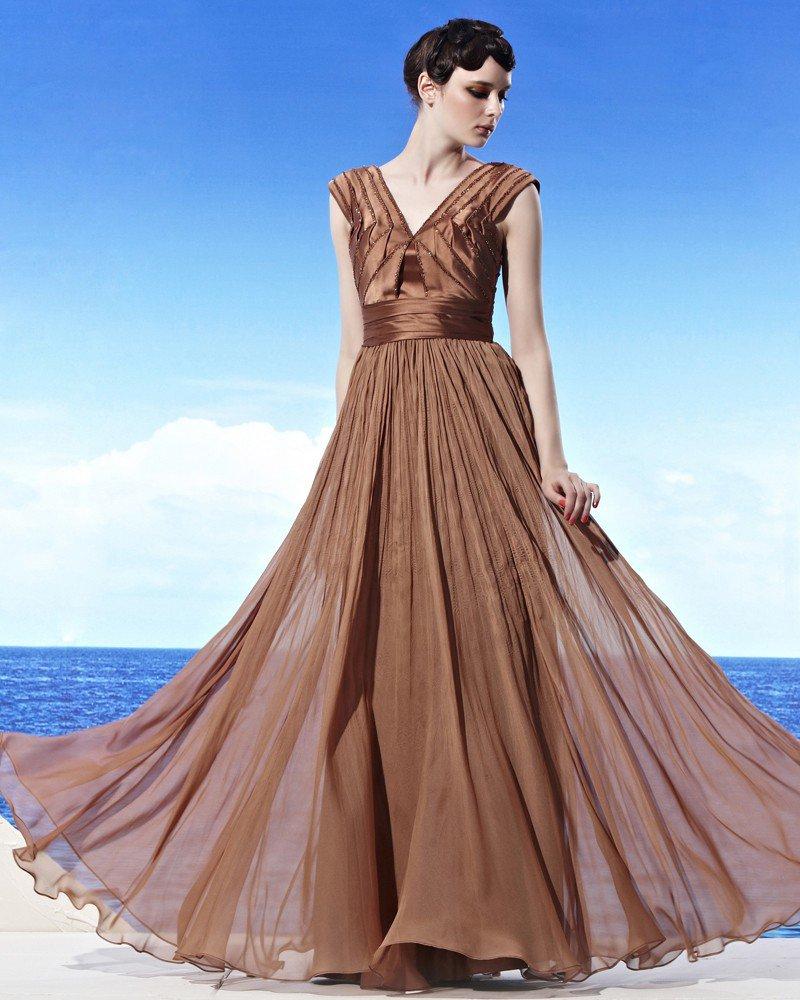 Elegant Floor Length V Neck Empire Beading Tencel Woman Evening Dress