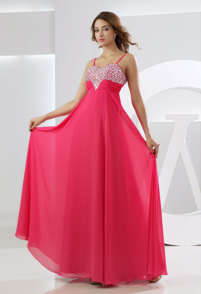 Sweetheart Spaghetti Beading Ruffle Sleeveless Zipper Floor Length Chiffon Silk Woman Evening Dress