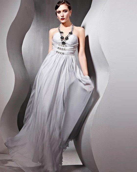 Strapless Beading Silk Charmeuse Tulle Hand Flower Floor Length Evening Dresses