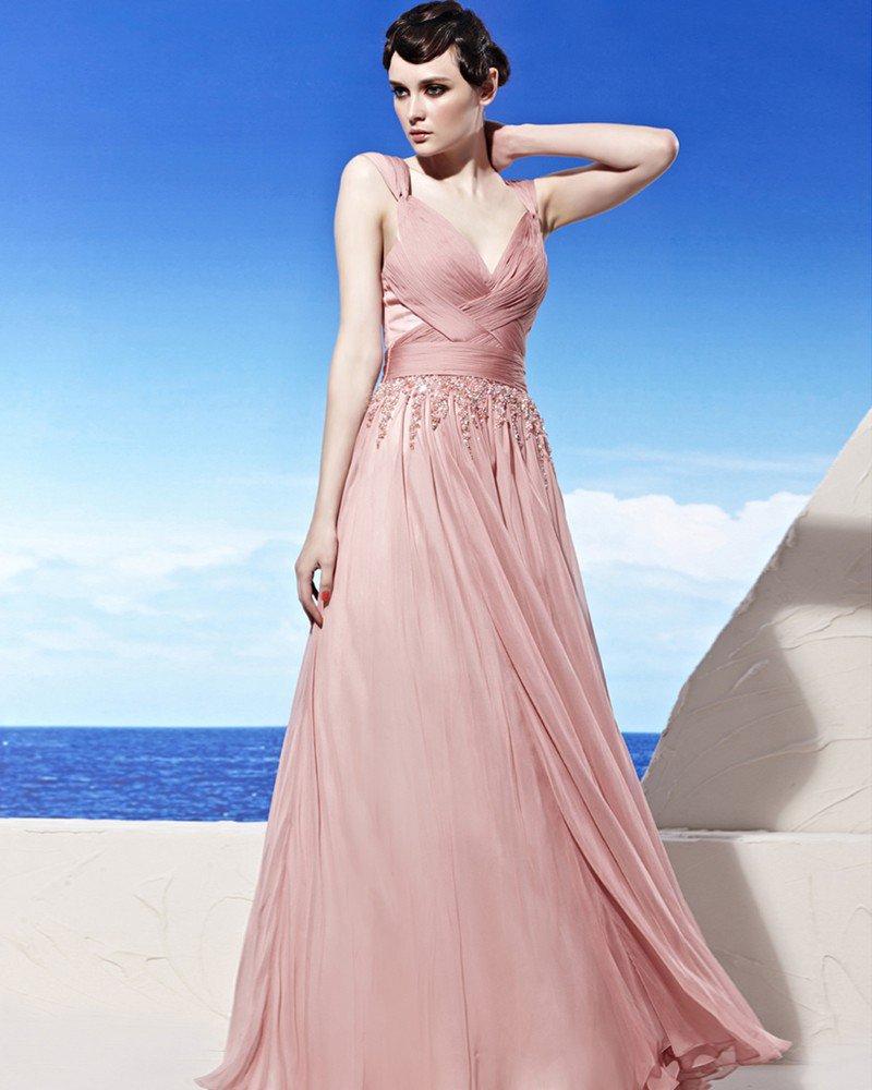 V Neck Floor Length Sleeveless Flower Rhinestone Tencel Empire Woman Evening Dress