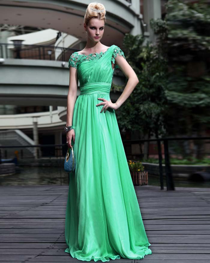 Tencel Chiffon Scoop Drape Hollow Floor Length Evening Dresses