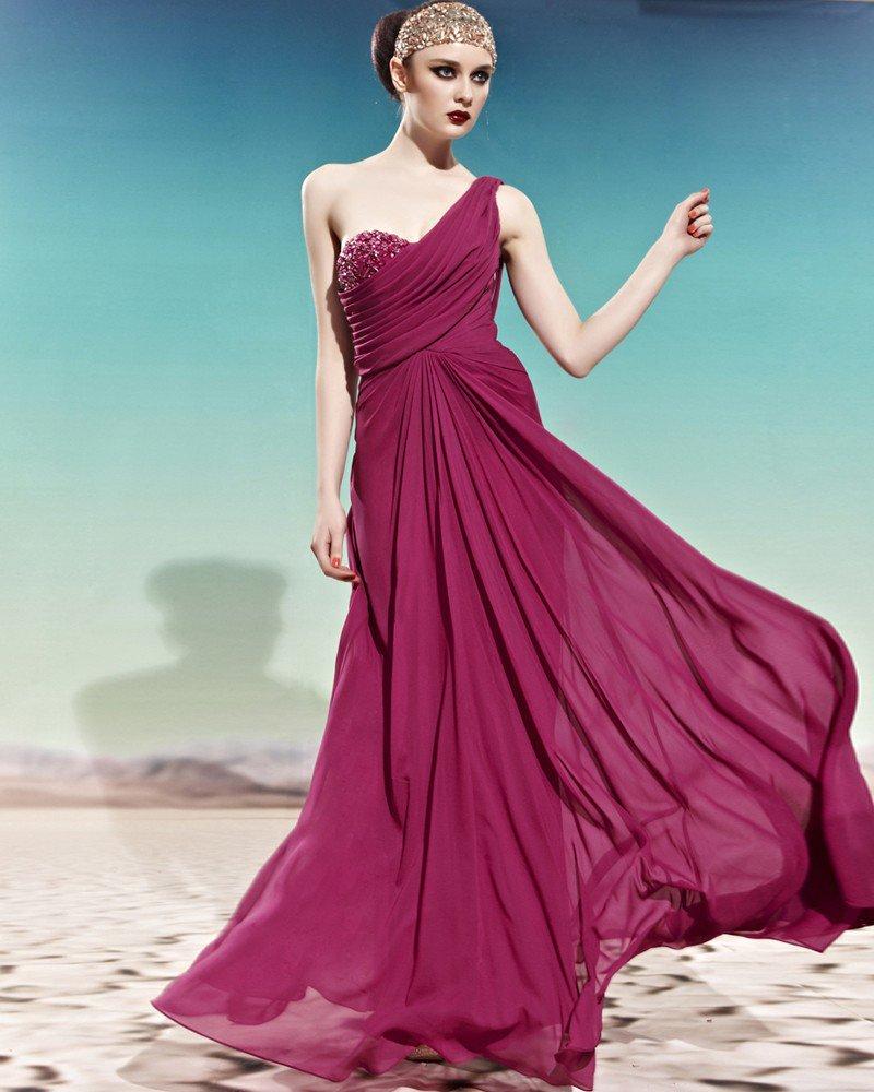 Sweetheart One Shoulder Beading Ruffle Sleeveless Backless Floor Length Charmeuse Woman Evening Dres