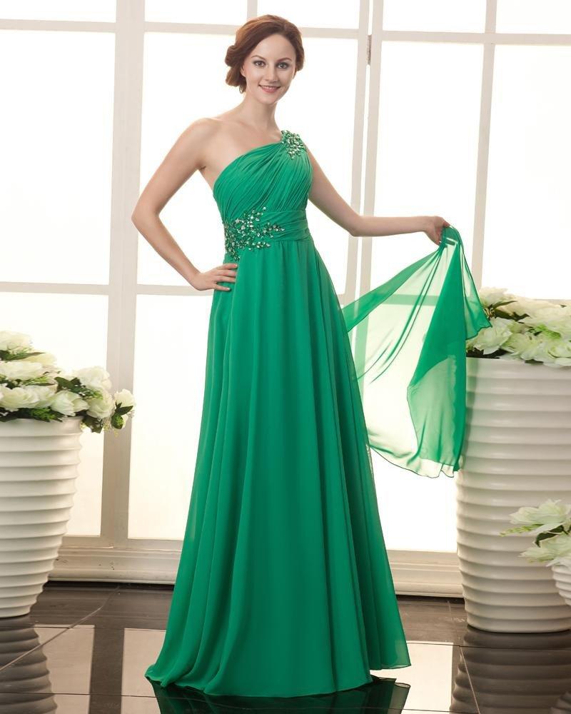 Chiffon Beads One Shoulder Floor Length Plus Size Evening Dresses