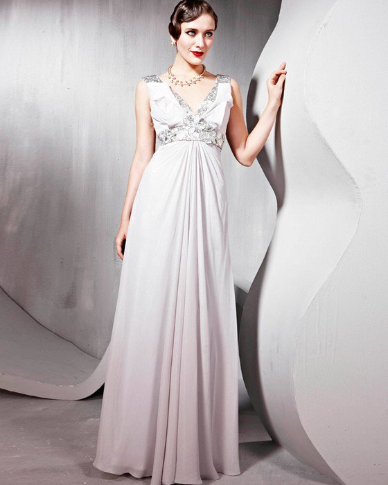 Beading Silk Tulle Charmeuse V Neck Floor Length Evening Dresses