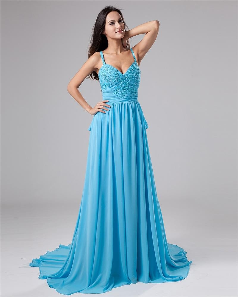 V-Neck A-Line Chiffon Empire Waist Designer Evening Dress NSB-023