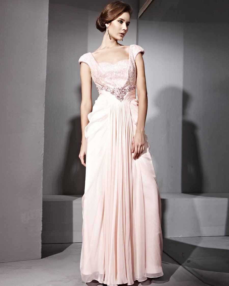 Floor Length Paillette Beads Tencel Satin Sweatheart Sleeveless Evening Dresses