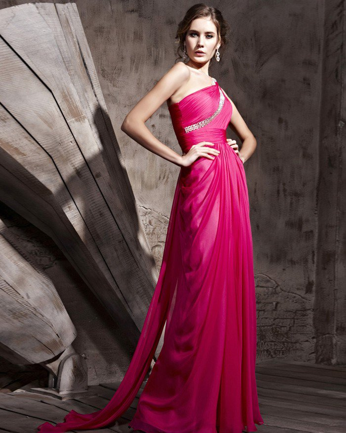 Sloping Shoulder Tencel Satin Floor Length Handmade Bead Evening Dresses