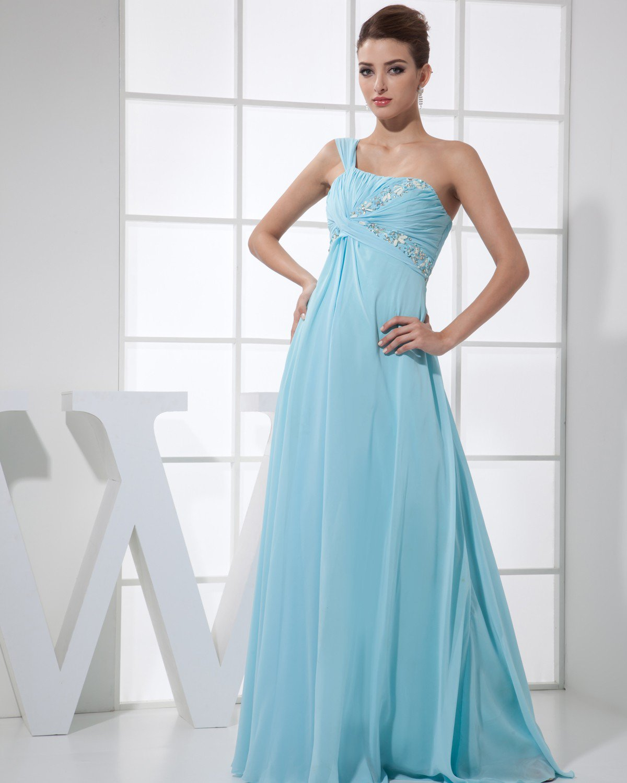Strapless Sleeveless Zipper Floor Length Beading Ruffle Chiffon Silk Woman Evening Dress