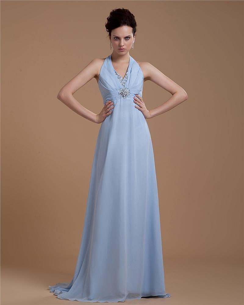 Halter Ruffle Beading Chiffon Floor Length Plus Size Evening Dresses