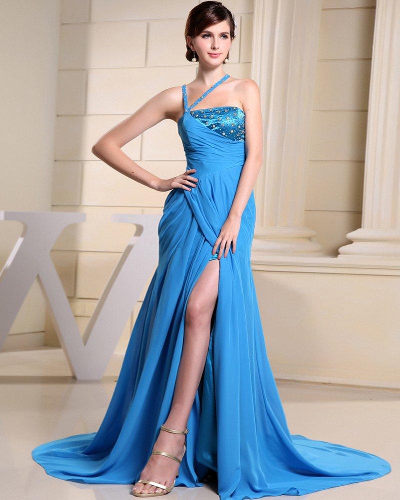 Fashion Chiffon Charmeuse Silk Beaded Halter Court Train Sleeveless Women Evening Dress