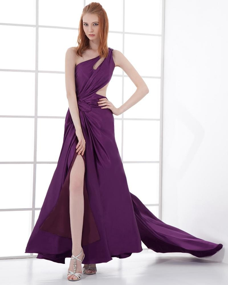 Fashion Charmeuse Pleated One Shoulder Floor Length Evening Dress