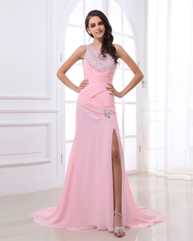 Popular Ruffle Chiffon One Shoulder Beading Floor Length Evening Dresses