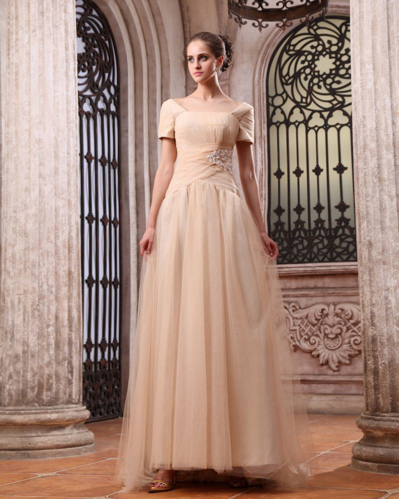 New Short Sleeve Chiffon Applique Bateau Floor Length Evening Dresses