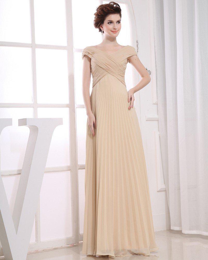 Fashion Chiffon Silk like Satin Pleated Off-Shoulder Floor Length Evening Dress