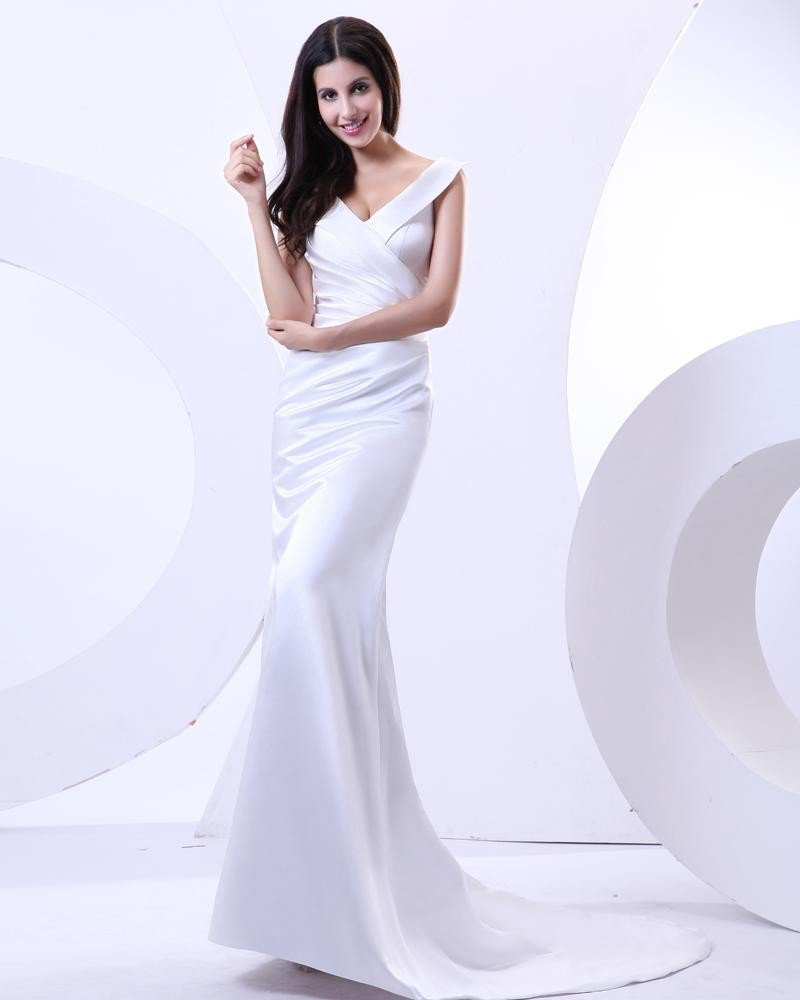 Sheath V-neck Floor-length Charmeuse Celebrity Dress
