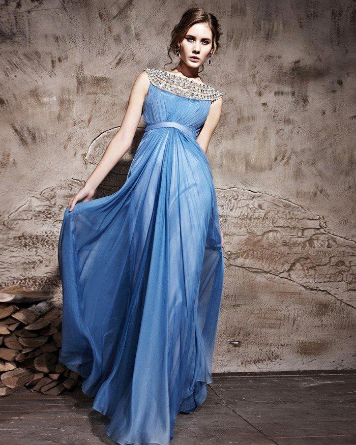 Sleeveless Empire Waist Tencel Satin Tulle Floor Length Evening Dresses
