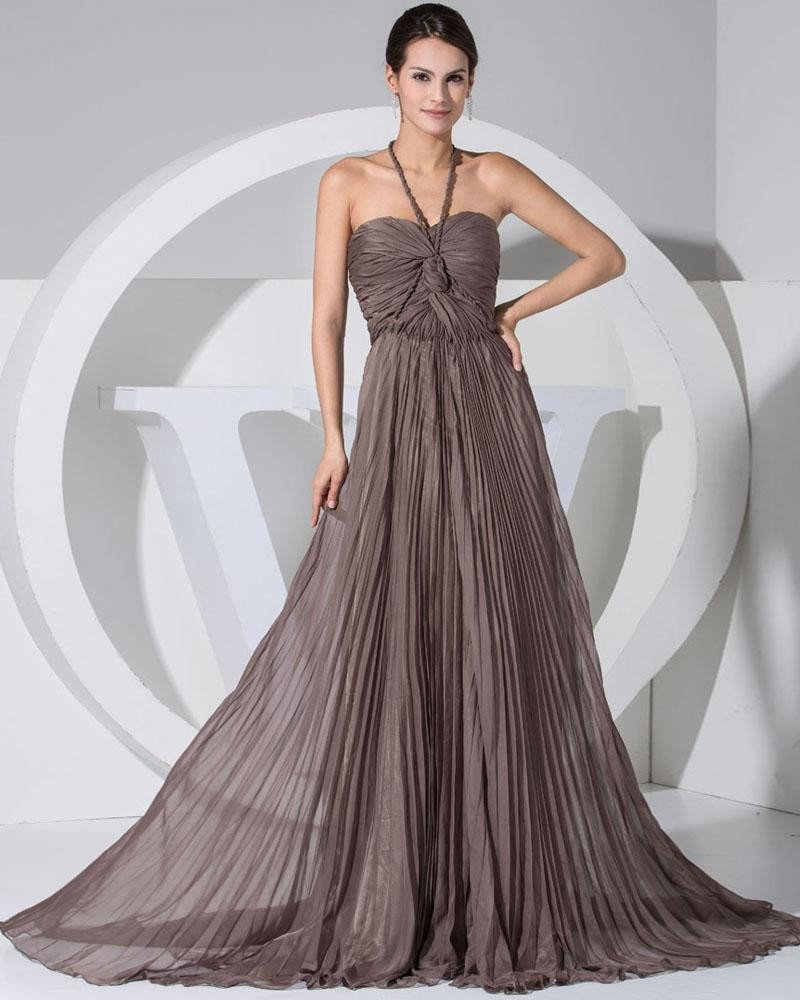 Chiffon Elastic Silk Like Satin Silk Halter Sleeveless Backless Court Train Pleated Celebrity Evenin