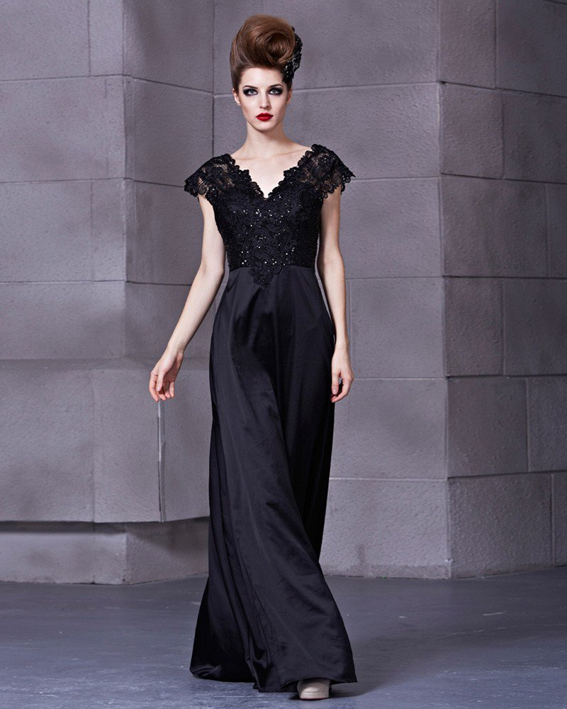 Elastic Silk Like Satin Charmeuse Satin Lace Sequins V Neck Sleeveless Backless Floor Length Pleated