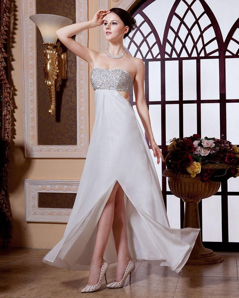 Junoesque Empire Strapless Floor Length Chiffon Rufffles Beading Women's Evening Dress