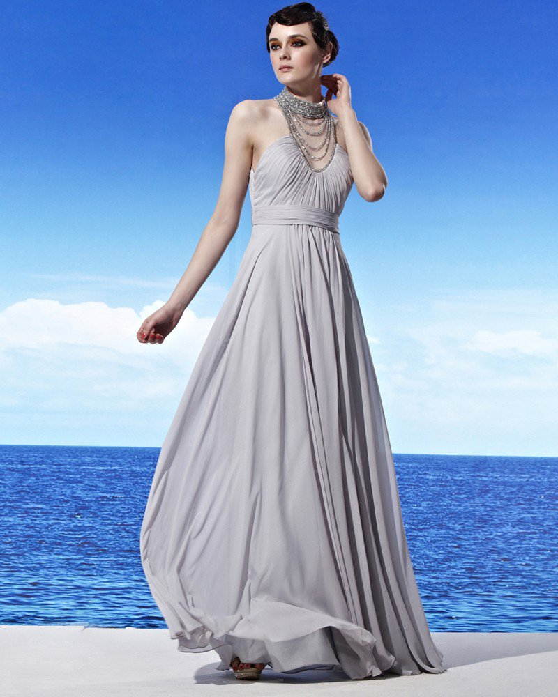 Sleeveless Floor Length Halter Neckline Beading Empire Chiffon Woman Evening Dress