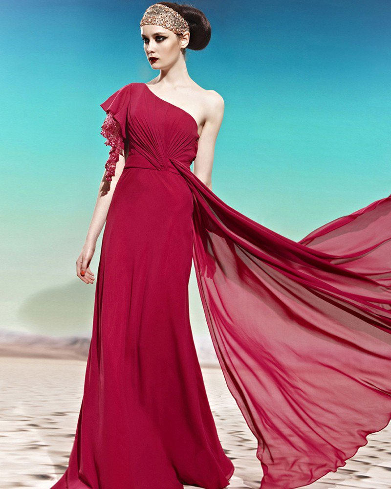 One Shoulder One Side Short Puff Sleeve Beading Ruffle Backless Floor Length Charmeuse Woman Evening