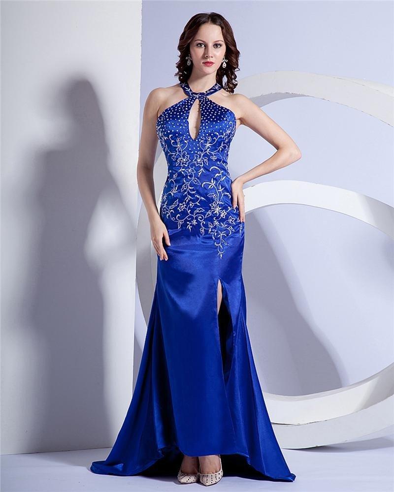 Fashion High-Neck Beading Chapel Train Evening Dress NS-125