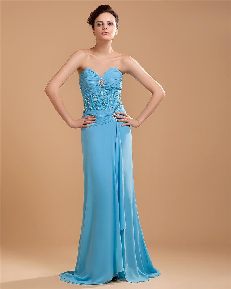 Ruffle Beading Applique Chiffon Sweetheart Floor Length Evening Dresses