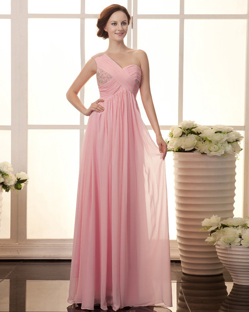 Solid Ruffle Beading One Shoulder Sleeveless Chiffon Women Evening Dress