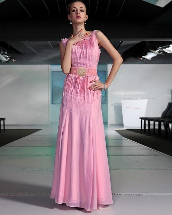 Sexy Beaded Ruffle Chiffon Round Neck Floor Length Evening Dresses