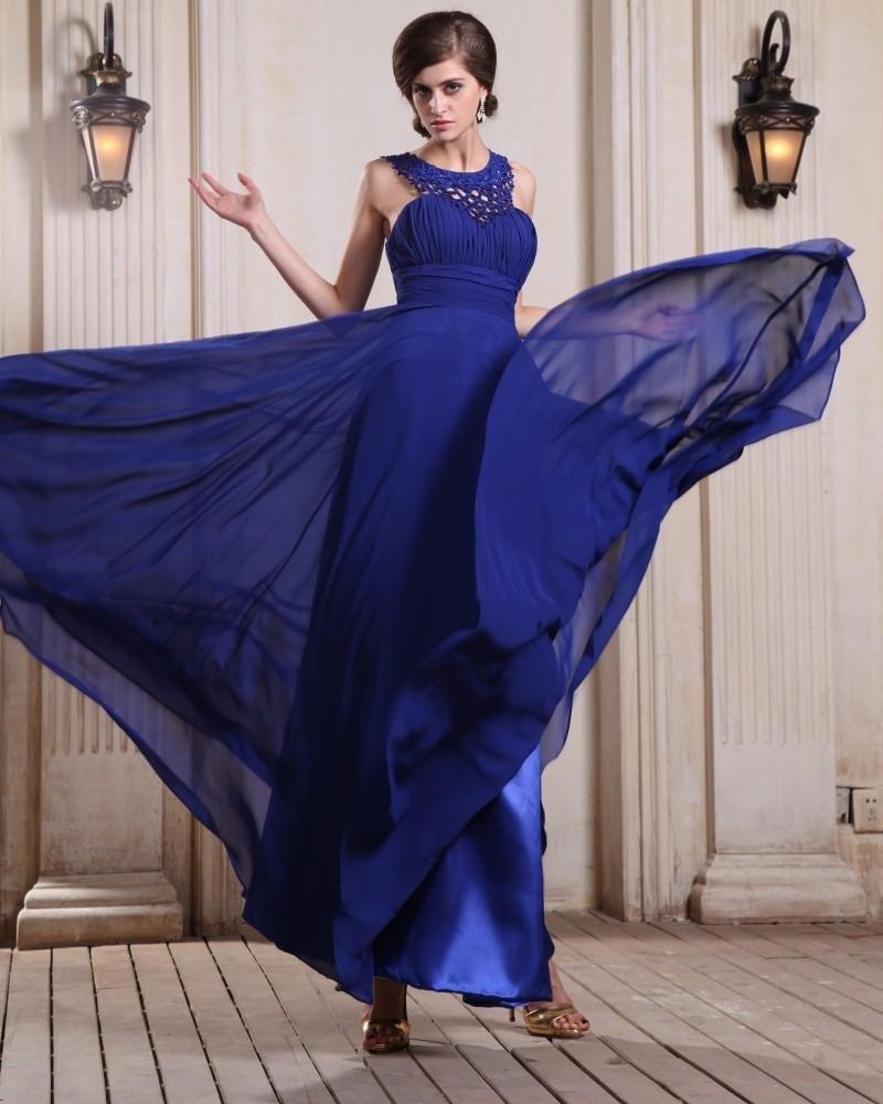 Sleeveless Chiffon Beading Ruffles Bateau Floor Length Evening Dresses