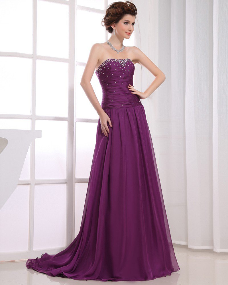 Strapless Sleeveless Zipper Floor Length Beading Ruffle Empire Chiffon Elastic Silk Like Satin Silk
