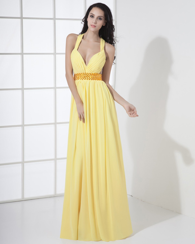 Chiffon Halter Bead Pleated Floor Length Evening Dress