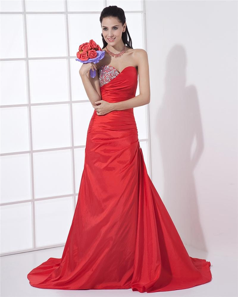 Sweetheart Neckline Floor Length Pleated Taffeta Beading A-Line Woman Evening Dress
