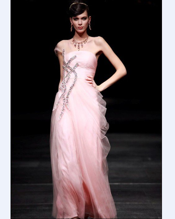 Chiffon Gauze Cloth Sloping A-line Floor Length Women's Evening Dresses