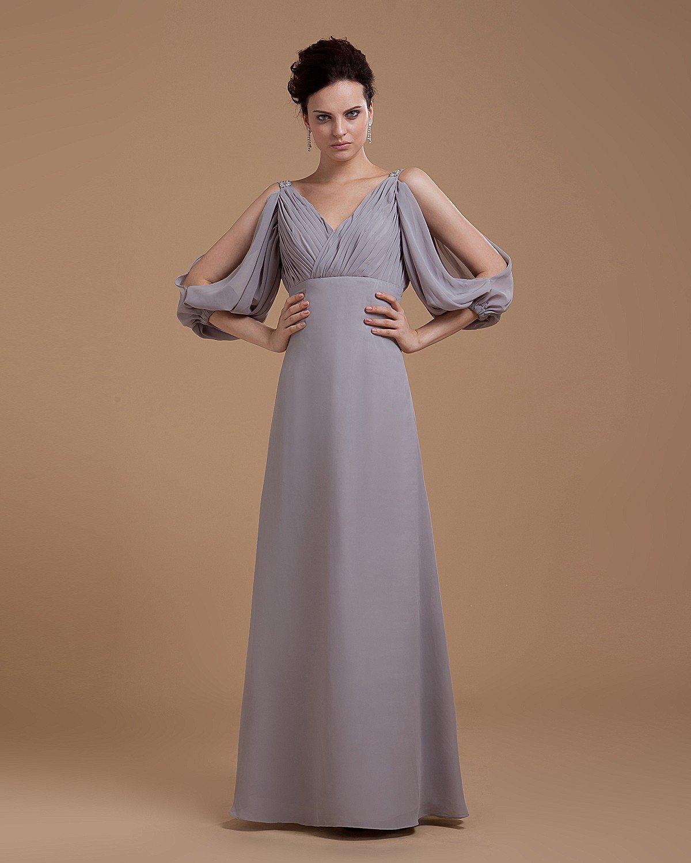 Sheath V-Neck Floor Length Chiffon Women's Prom Dress