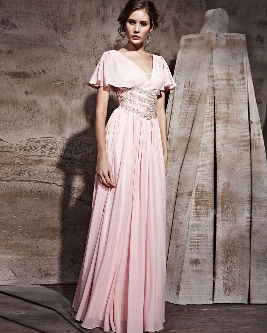 Floor Length Silk Chiffon V-Neck Short Sleeve Evening Dresses