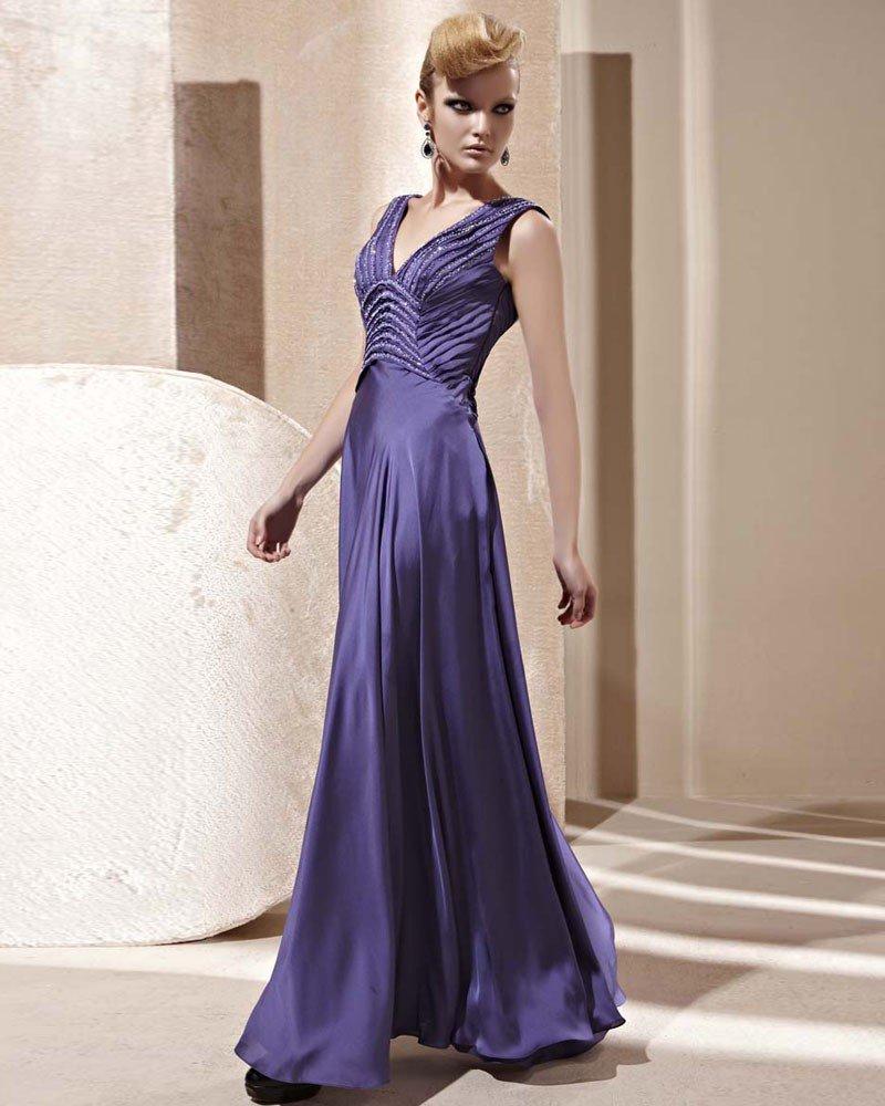 V Neck Beading Ruffle Sleeveless Floor Length Backless Charmeuse Woman Evening Dress